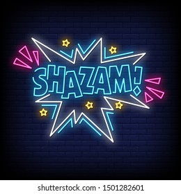 Shazam neon signs style text vector