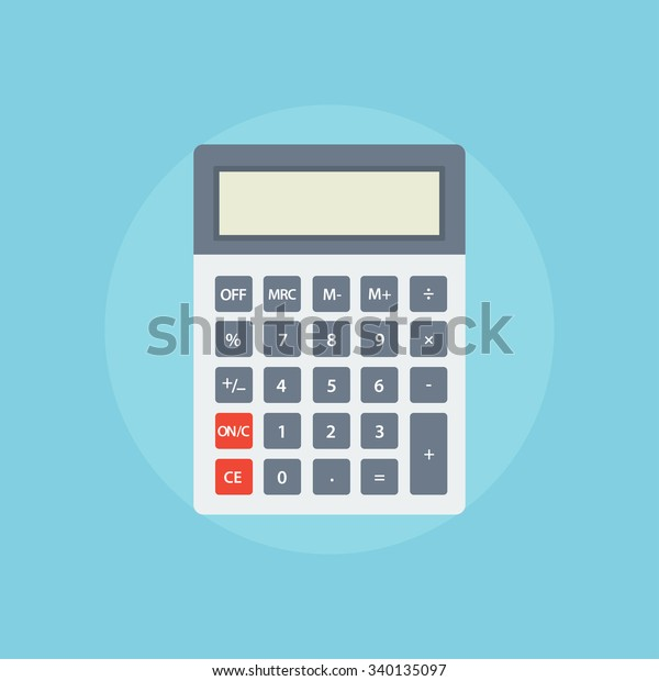 Shcool calculator icon in flat style isolated on a colored background. Vector electronic portable calculator.