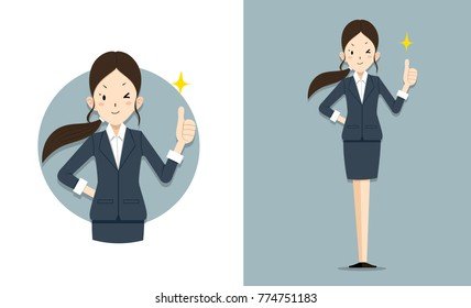 She give thumb up for work