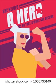 """she needed a hero so that's what she became"" Modern Abstract We Can Do It Rosie the Riveter Women Poster. Women, girl, female strength poster."