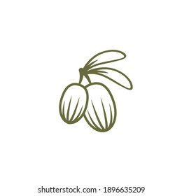 Shea nut green icon. vitellaria beauty and cosmetics oil. Cosmetic ingredient carotene, carotin. shea butter for skin care. Vector flat illustration isolated on white.