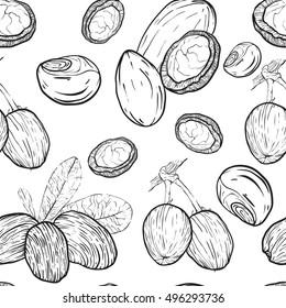 Shea nuts seamless pattern.