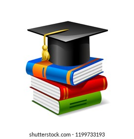 Sheaf of colorful books with square academic cap on top of it. Vector flat design style illustration. Academic monkey in square academic cap is sitting on books