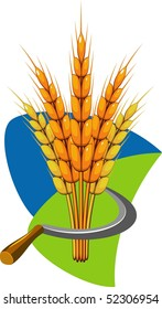 Sheaf of wheat and sickle. Vector illustration.