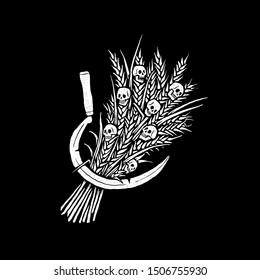 Sheaf of wheat with skulls and sickle. Design for t-shirts, stickers and more. Vector.