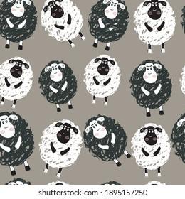 Sheep background. Vector image. Cartoon image