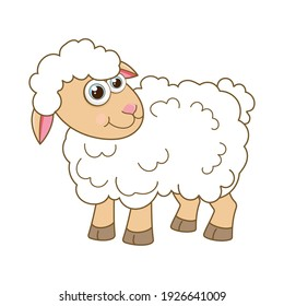Sheep. Cartoon character young lamb isolated on white background. Template of cute farm animal. Education card for kids learning animals. Suitable for decoration and design. Vector in cartoon style