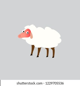 Sheep cartoon style isolated on gray background.