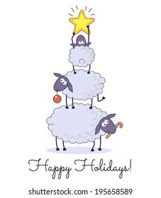 Sheep christmas tree on white background