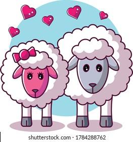 Sheep Couple in Love Design