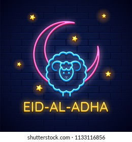 Sheep with crescent moon made by neon effect on blue brick wall decorated with stars for Eid Al Adha (Festival of Sacrifice) celebration.