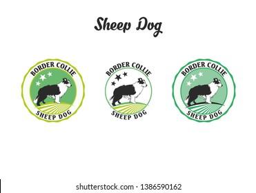 Sheep dog logo badge concept