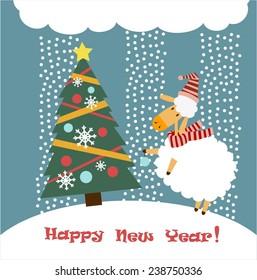 Sheep dresses up a Christmas tree illustration