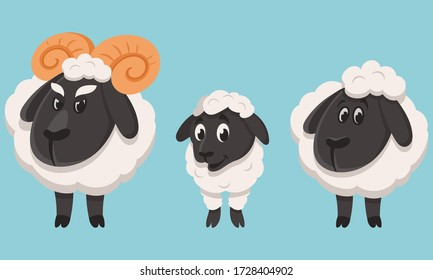 Sheep family in cartoon style. Farm animals of different sex and age.