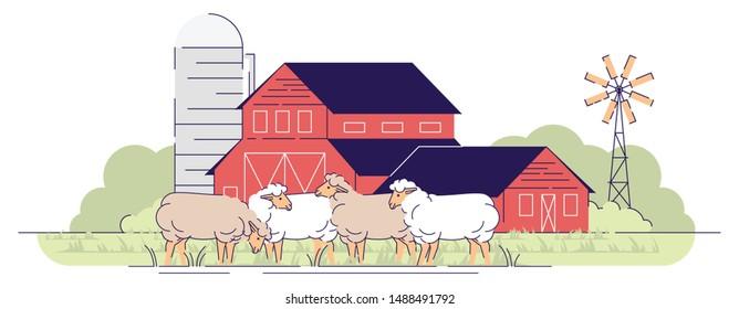Sheep farm flat vector illustration. Livestock farming, animal husbandry cartoon concept. Sheeps grazing on farmyard pasture. Village farmland with barnyard, rural ranch. Wooden red barns buildings