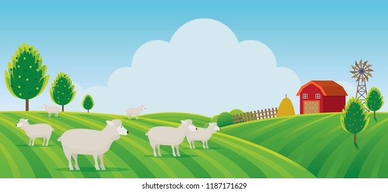 Sheep Farm on Hill Landscape Background, Agriculture, Cultivate, Countryside, Field, Rural