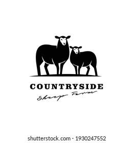 Sheep farm vintage logo icon design