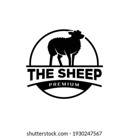 Sheep farm vintage logo icon design
