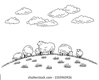Sheep feeding grass on the hill graphic black white sketch illustration vector