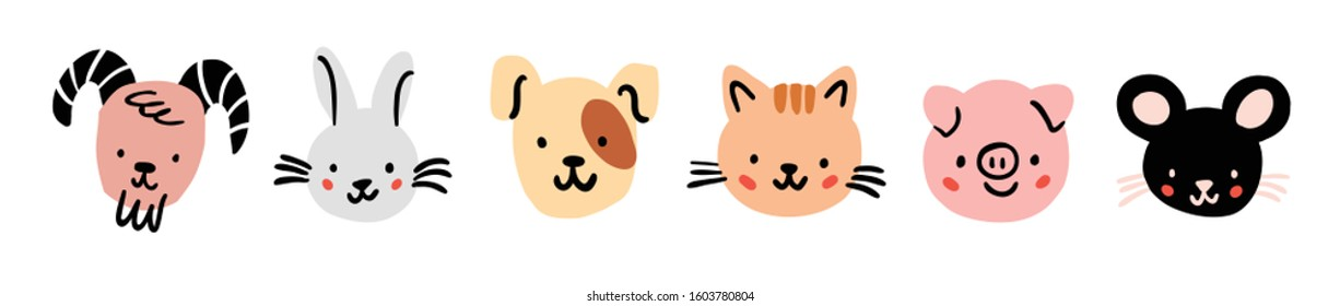 Sheep, goat, mouse, rabbit, dog, cat, pig round face head icon set. Cute farm animals. Cute cartoon character. Funny baby kids print. Flat design. White background Isolated