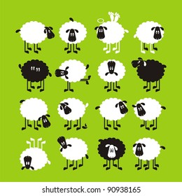 Sheep, good and different # 04. Set for the press on T-shirts.