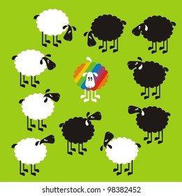 Sheep, good and different # 14 Set for the press on T-shirts.
