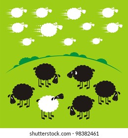 Sheep, good and different # 16 Set for the press on T-shirts.
