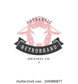 Sheep hand drawn logo isolated on white background vector illustration for labels, badges, t-shirt and other design.