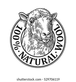 Sheep head. 100% Natural wooll lettering. Hand drawn in a graphic style. Vintage vector engraving illustration for label, poster, logotype. Isolated on white background