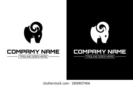 Sheep head design vector on white and black background. Wild animal. Vector illustration