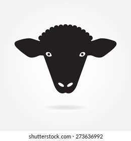 Sheep head or face icon. Agriculture and farming concept. Vector illustration.