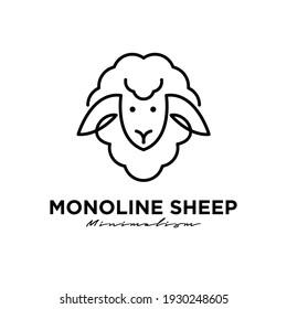 Sheep head monoline line logo icon design