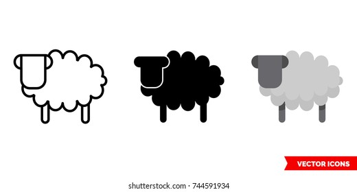 Sheep icon of 3 types: color, black and white, outline. Isolated vector sign symbol.