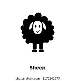 Sheep icon vector isolated on white background, logo concept of Sheep sign on transparent background, filled black symbol