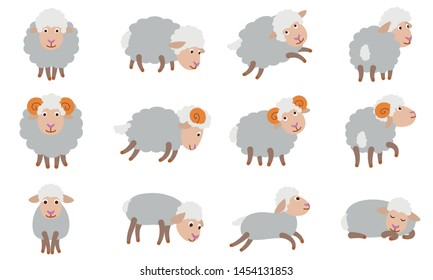 Sheep icons set. Flat set of sheep vector icons for web design