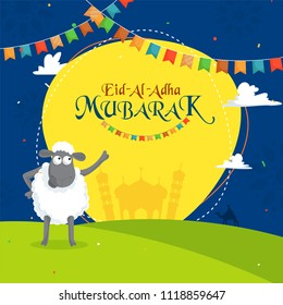 Sheep indicating towards text Eid-Al-Adha, Islamic festival of sacrifice concept with funny cartoon illustration, bunting flags on nature background.