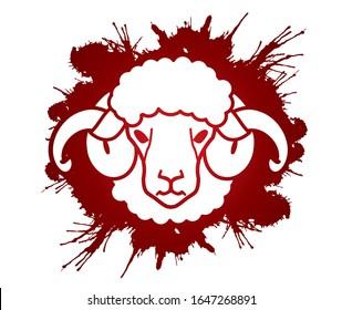 Sheep or lamb with big horn cartoon graphic vector