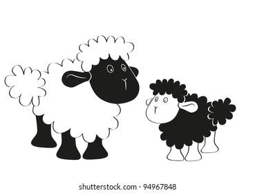 Sheep and lamb cartoon