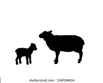 Sheep lamb farm mammal black silhouette animal