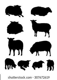 Sheep & Lamb Silhouette Set