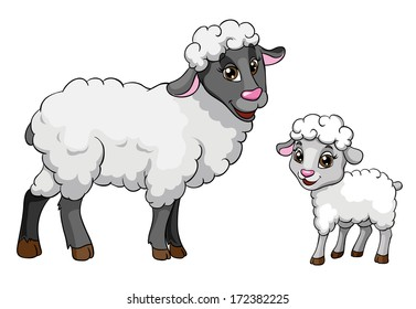 Sheep and lamb, vector illustration on white background