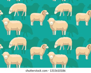 Sheep Merino Cartoon Background Seamless Wallpaper