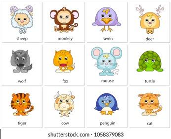 Sheep, monkey, raven, deer, wolf, fox, mouse, turtle, tiger, cow, penguin, cat. Illustration for kids