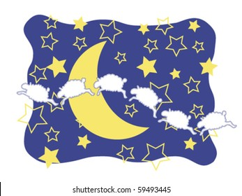 Sheep, Moon, and Stars