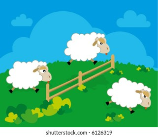 sheep on green grass jumping fence