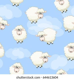 Sheep on sky, Seamless pattern with cute funny herd and cloud. Vector background