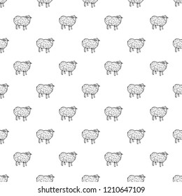 Sheep pattern seamless repeat background for any web design