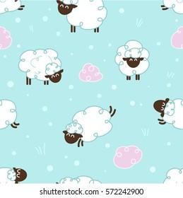 Sheep pattern - vector seamless