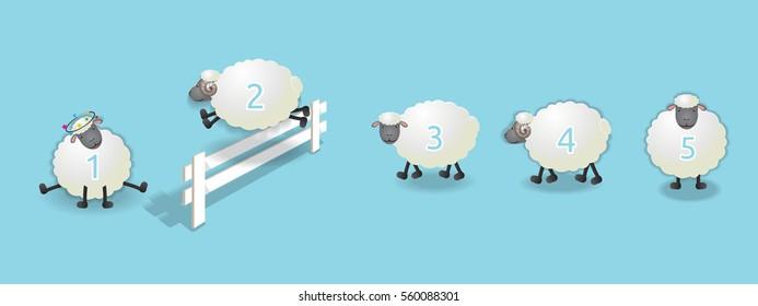sheep queuing, counting sheep to fall asleep, vector illustration