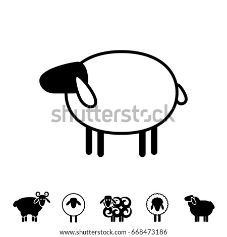Sheep Ram Icon Logo Template Pictogram Stock Vector (Royalty Free ...
